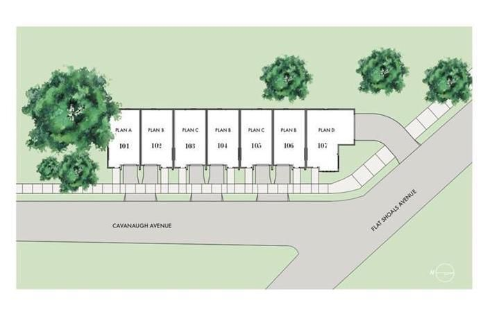 An overview of a site plan for townhomes in East Atlanta.