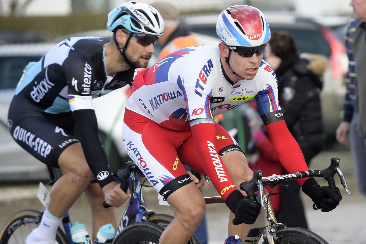 Boonen and Kristoff, earlier in the stage