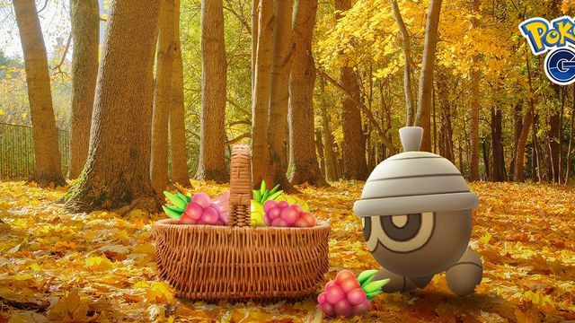 A acorn Pokémon, Seedot, stands near a basket filled with berries