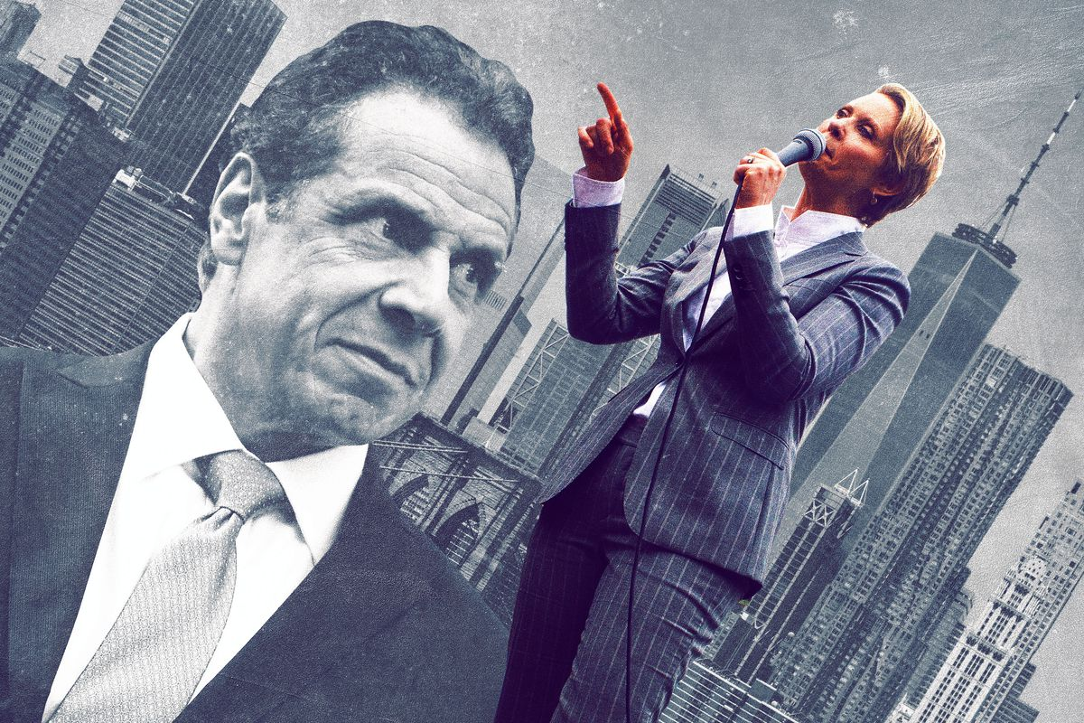 A photo illustration of New York Governor Andrew Cuomo and challenger Cynthia Nixon