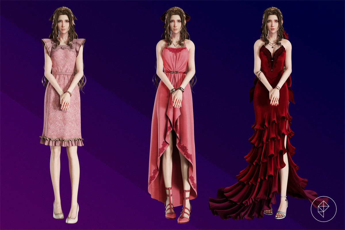 Aerith Gainsborough stands with her arms crossed in front of her in three different dresses