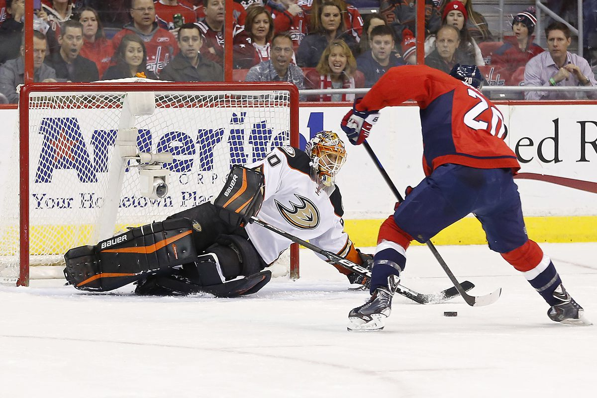 Ilya Bryzgalov makes a sprawling pokecheck save against Troy Bouwer during the second period at Verizon Center.