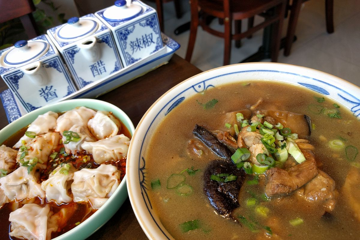 Spicy pork wontons with chicken and mushroom soup at Yu Kitchen