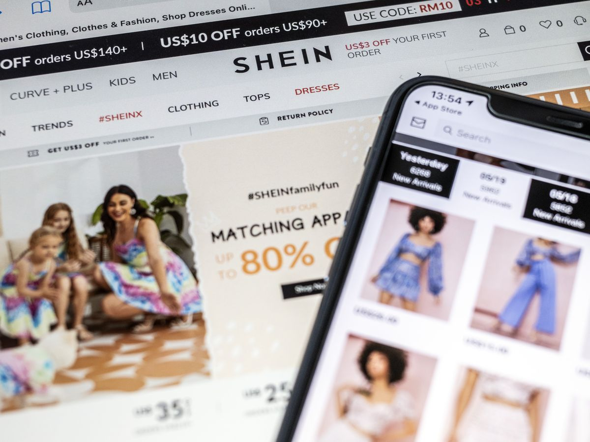 A photo of the fast fashion retailer                             Shein's website and app.