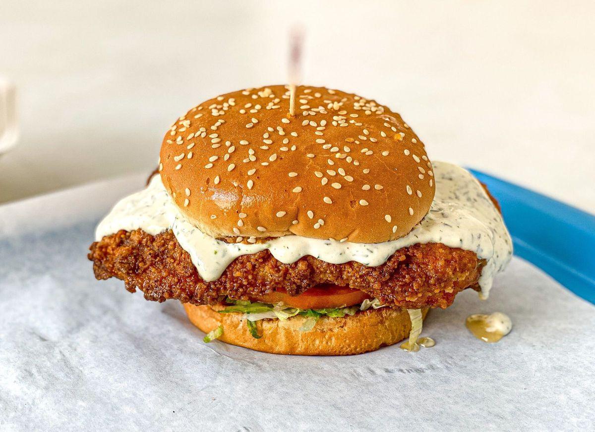 Fried chicken sandwich from George's