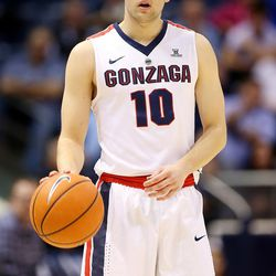 Gonzaga Bulldogs guard Jesse Wade (10) dribbles out the clock as BYU and Gonzaga play in an NCAA basketball game in the Marriott Center in Provo on Saturday, Feb. 24, 2018. Gonzaga won 79-65.