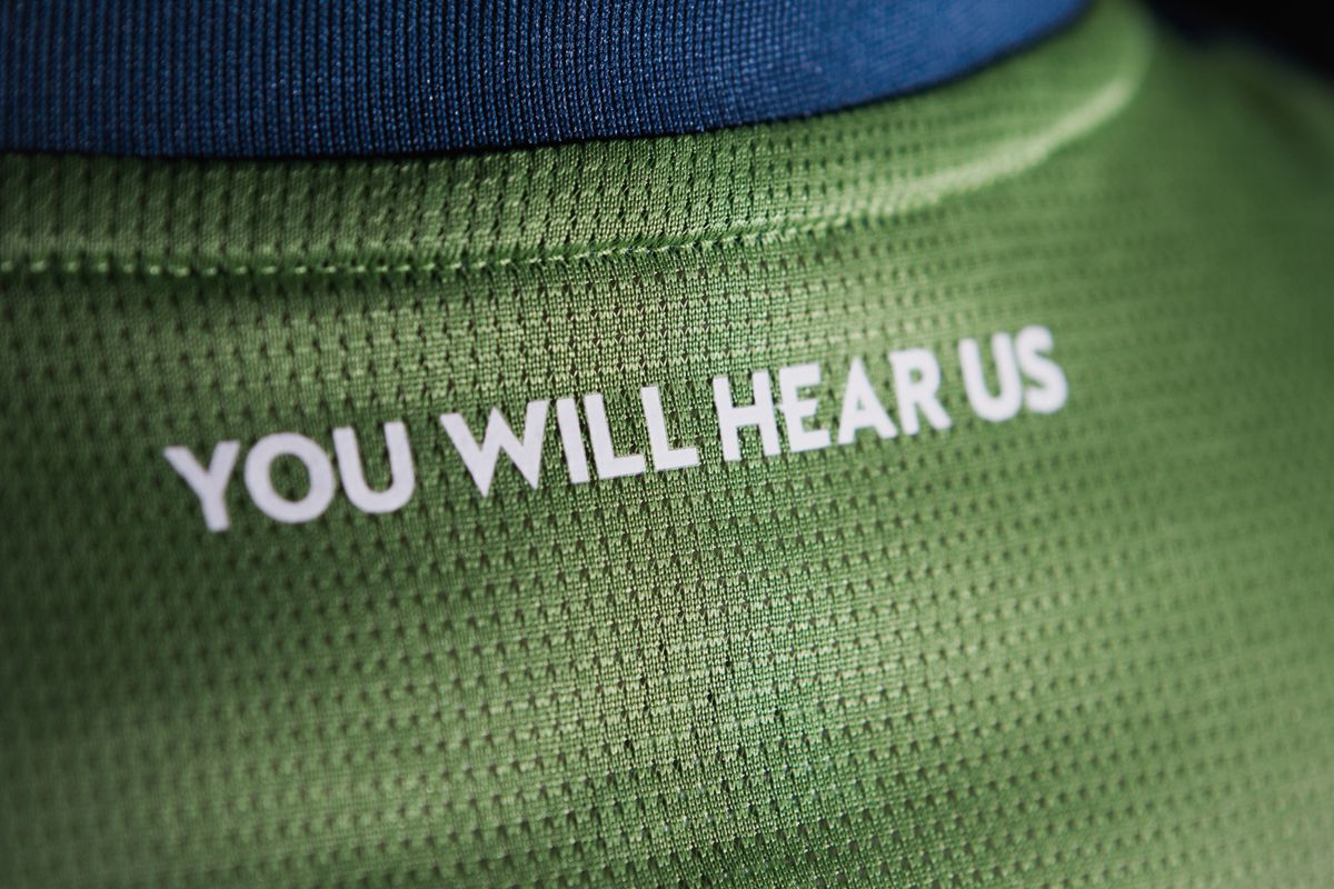 """""""You will hear us"""" on the neck tape of the rave green kit that is new in 2018."""