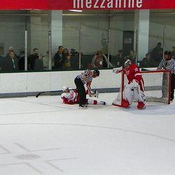 Jimmy Howard's stick blade was stuck in Daniel Alfredsson's skate