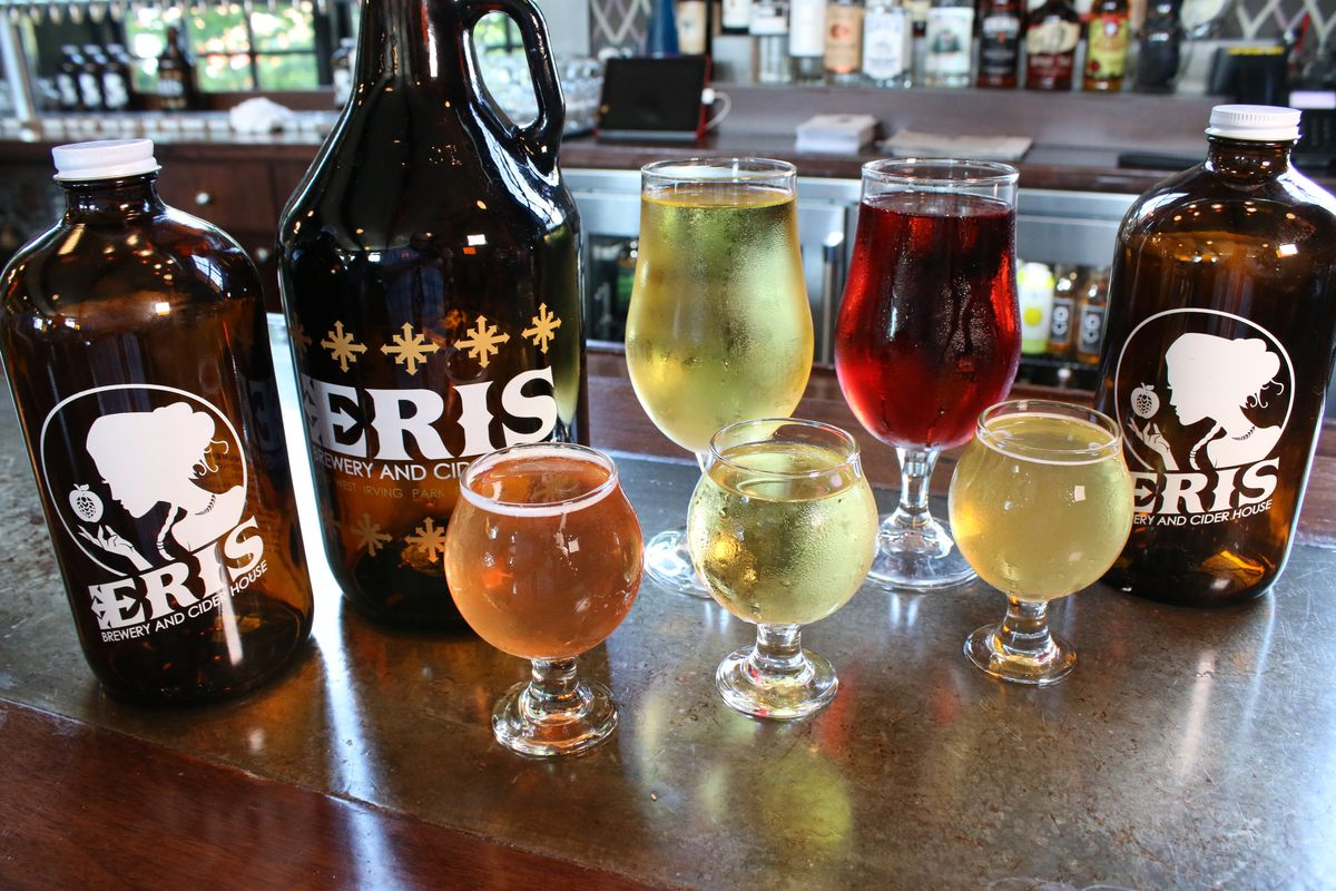 Ciders made at Eris Brewery and Cider House include (front row, from left ):Strawbarbarella, Pedestrian and Foiken IPC, and (back row, from left) The Cidre Vie andVan Van Mojo.