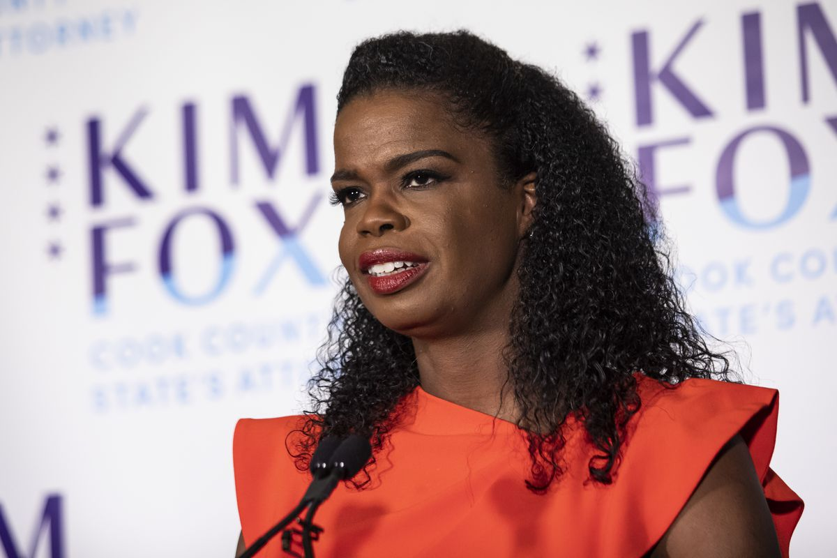 Kim Foxx speaks to the media after winning the Democratic primary in March.