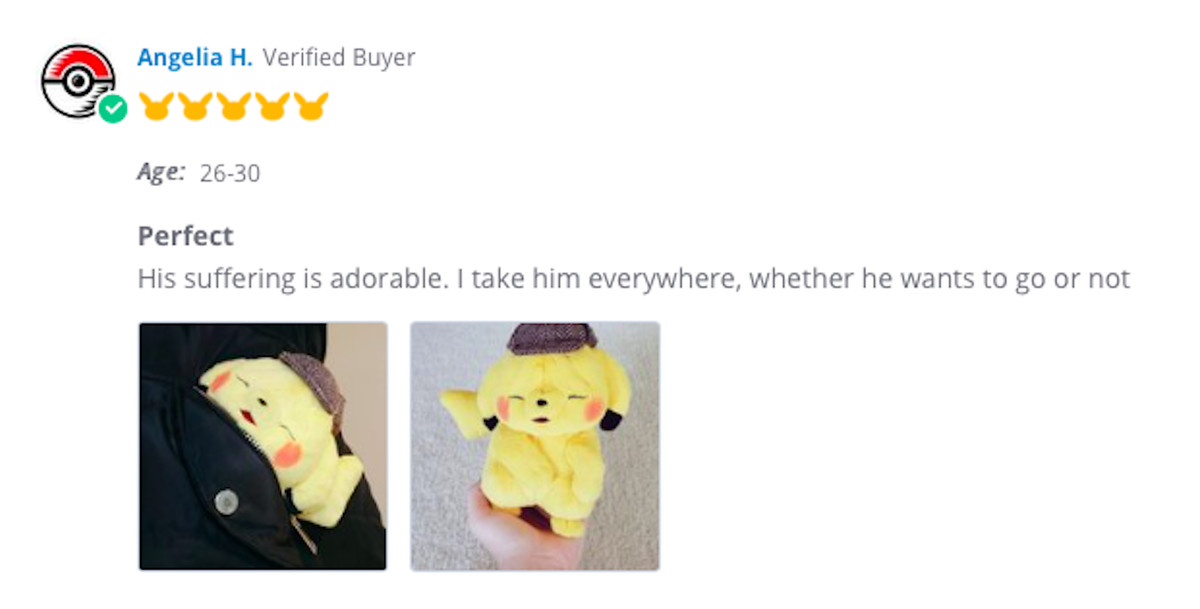 A wrinkled Pikachu plushie review.