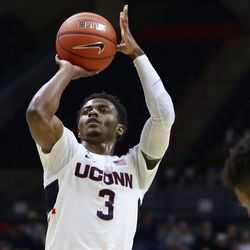 The Manhattan Jaspers take on the UConn Huskies in a men's college basketball game at Gampel Pavilion in Storrs, CT on December 15, 2018