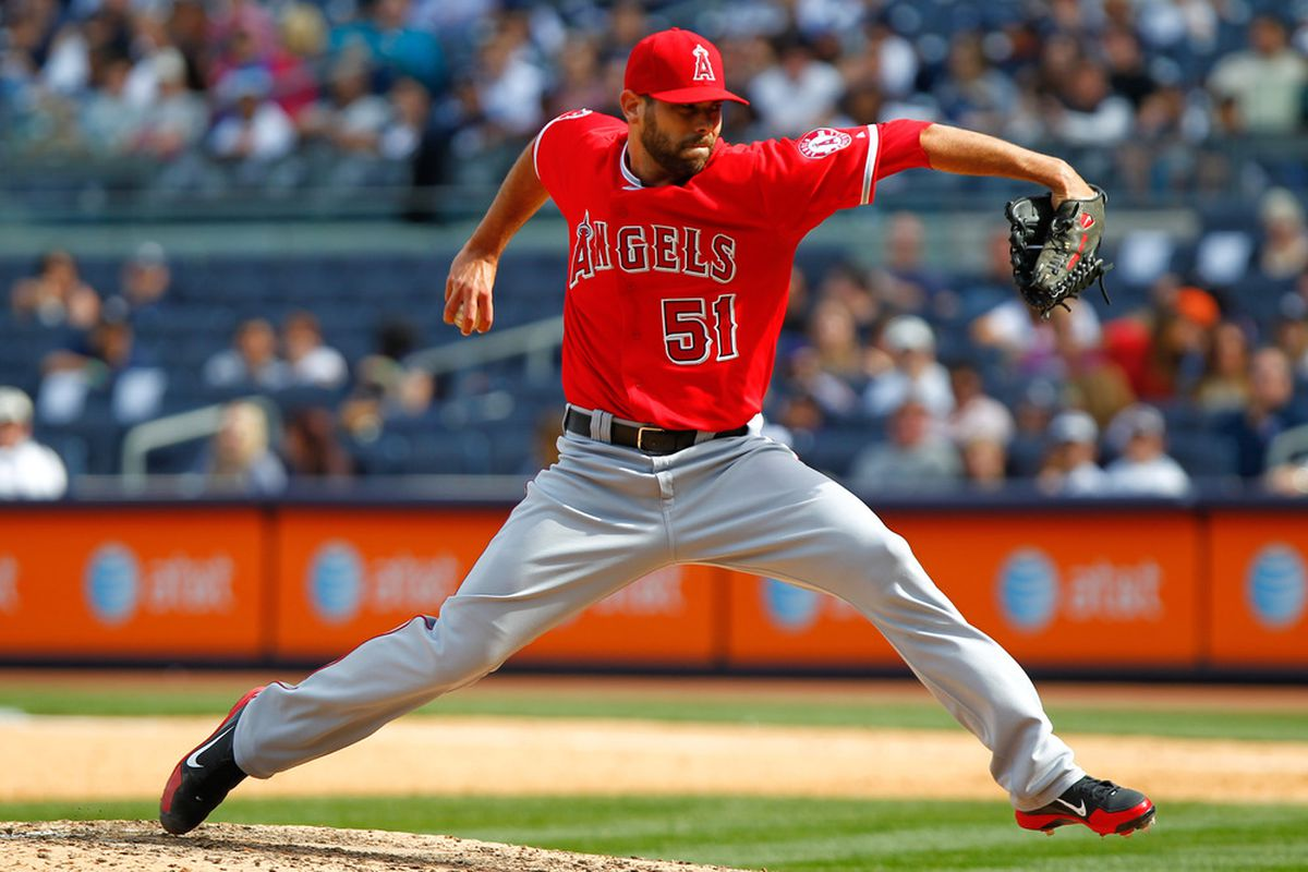 Apr. 14, 2012; Bronx, NY, USA; Los Angeles Angels relief pitcher Jordan Walden (51) pitches during the ninth inning against the New York Yankees at Yankee Stadium. Angels won 7-1. Mandatory Credit: Debby Wong-US PRESSWIRE