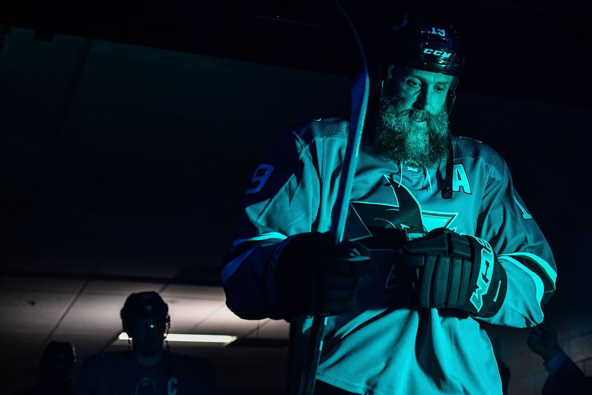 Joe Thornton #19 of the San Jose Sharks walks out to the ice before facing the Pittsburgh Penguins at SAP Center on February 29, 2020 in San Jose, California.