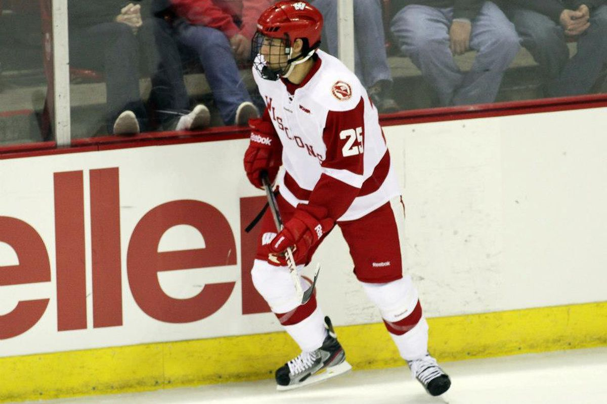 Michael Mersch had two goals Thursday night to lead the Badgers
