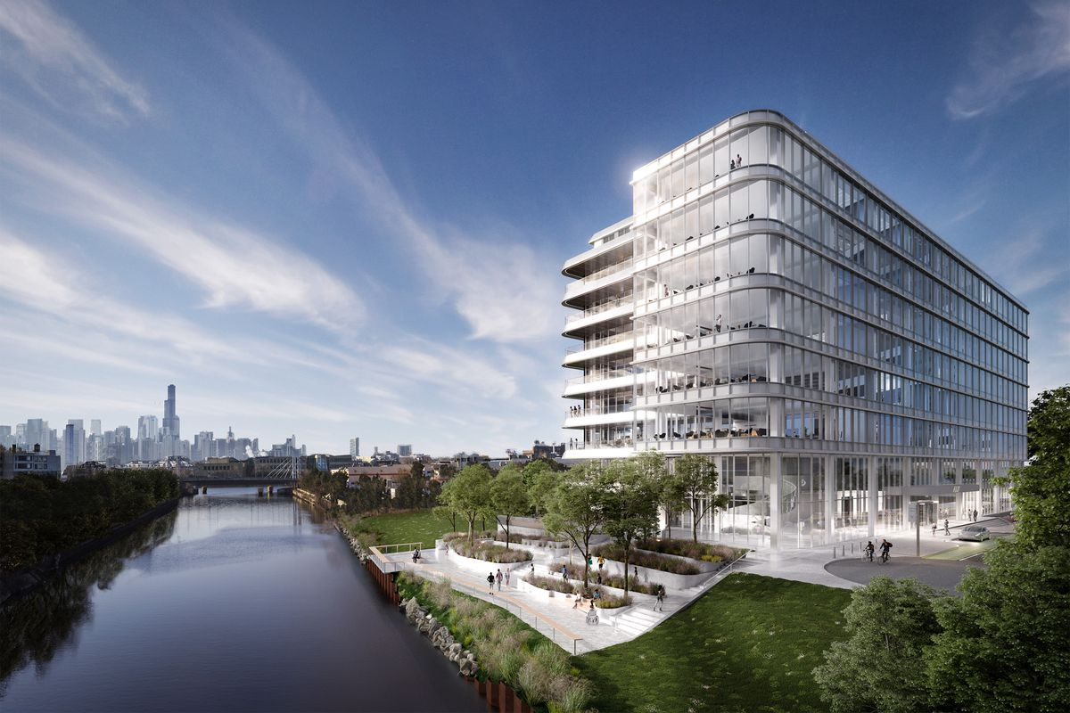 A rendering of the first building that will go up in Sterling Bay's massive Lincoln Yards development. A groundbreaking is expected in October.