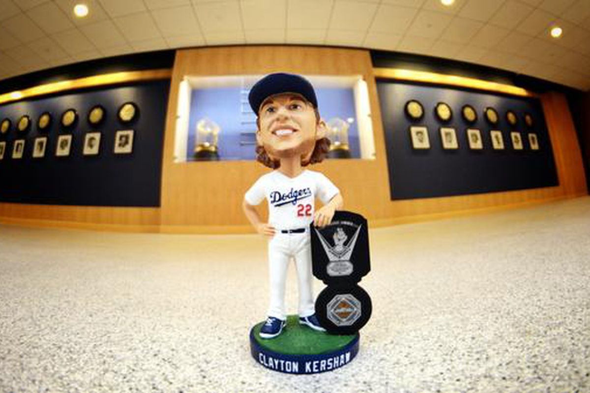 Kershaw's bobblehead (May 12) honors his winning both the NL Cy Young Award and MVP awards in 2014.