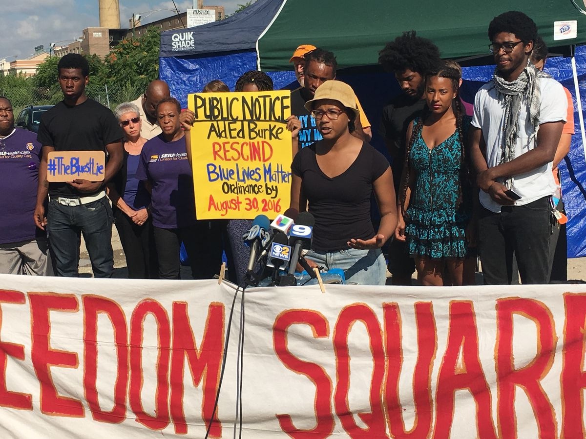 Camesha Jones, an activist of the Blues Lie Collaborative, said the group of activists are calling for Ald. Edward Burke (14th) to rescind his support for the proposal by Aug. 30. | Jacob Wittich/Sun-Times