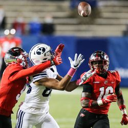 Brigham Young Cougars wide receiver Keanu Hill (86) attempts to catch the ball against the Western Kentucky Hilltoppers defense during an NCAA football game at LaVell Edwards Stadium in Provo on Saturday, Oct. 31, 2020.