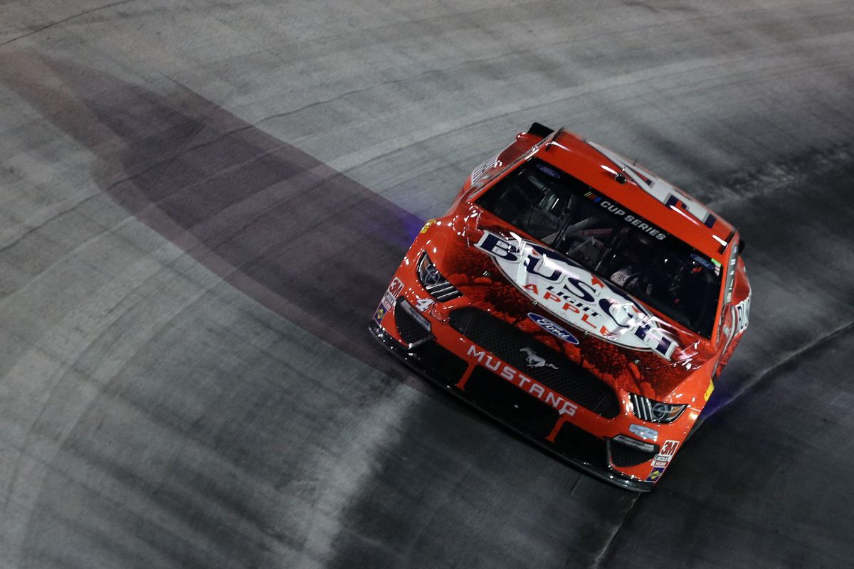 Kevin Harvick, driver of the #4 Busch Light Apple Ford, drives during the NASCAR Cup Series All-Star Race at Bristol Motor Speedway on July 15, 2020 in Bristol, Tennessee.