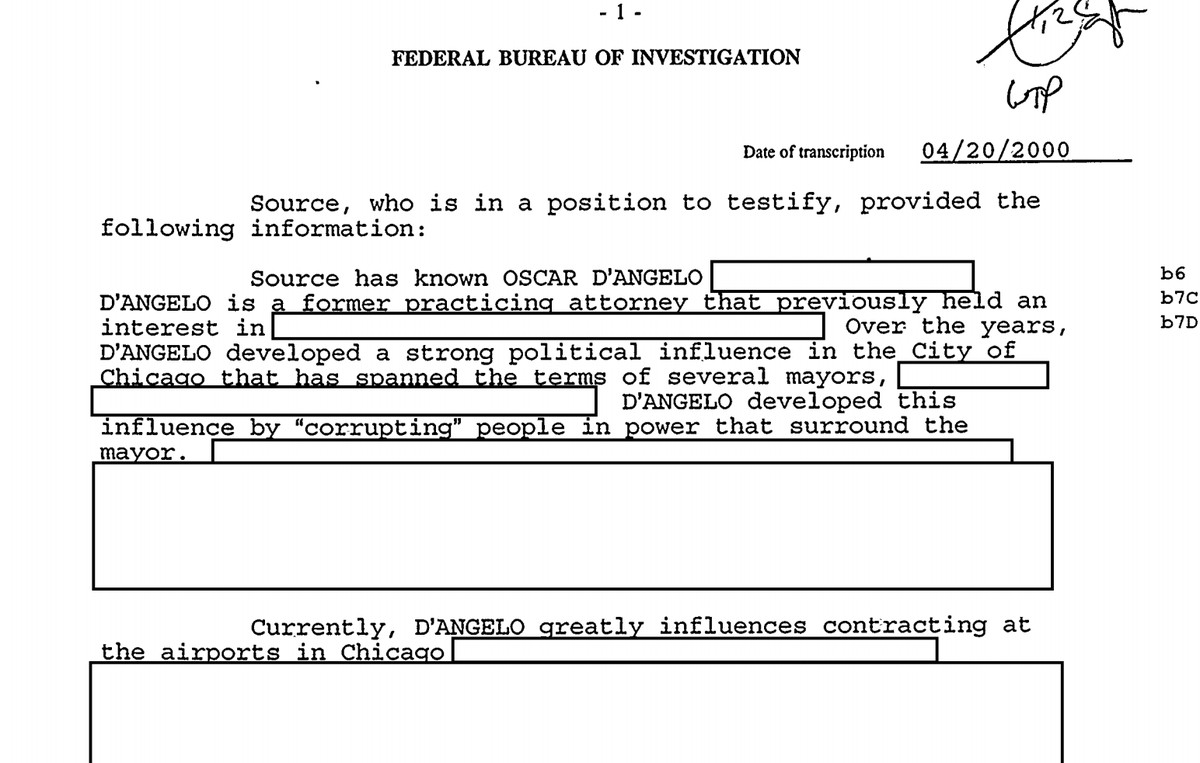 """Another portion of Oscar D'Angelo's FBI file, which is now part of """"The FBI Files"""" database created by the Chicago Sun-Times."""