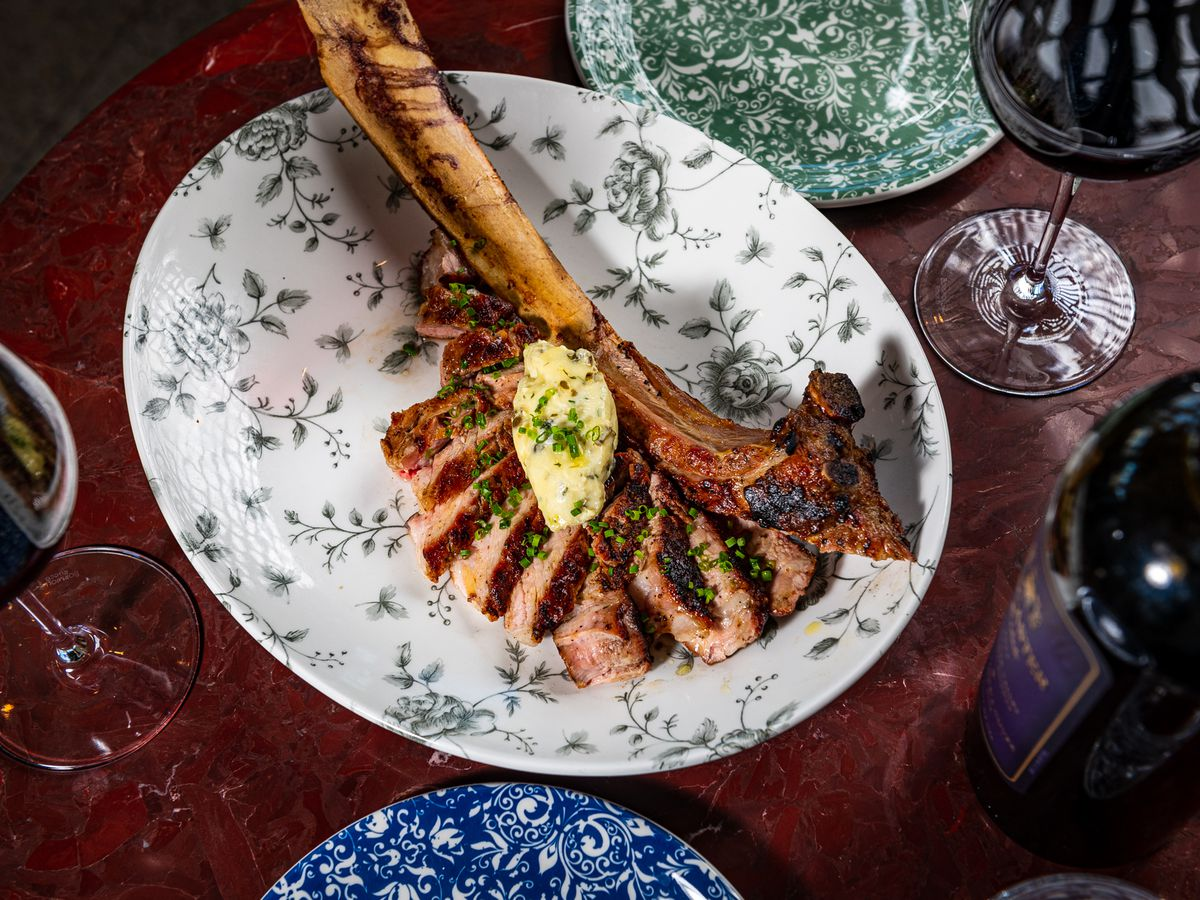 The 14-ounce tomahawk veal chop from Ada's on the River