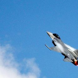 Captian Julian L. Pacheco flys an F-16 fighter jet at Hill Air force Base in Ogden Utah March 21, 2003.