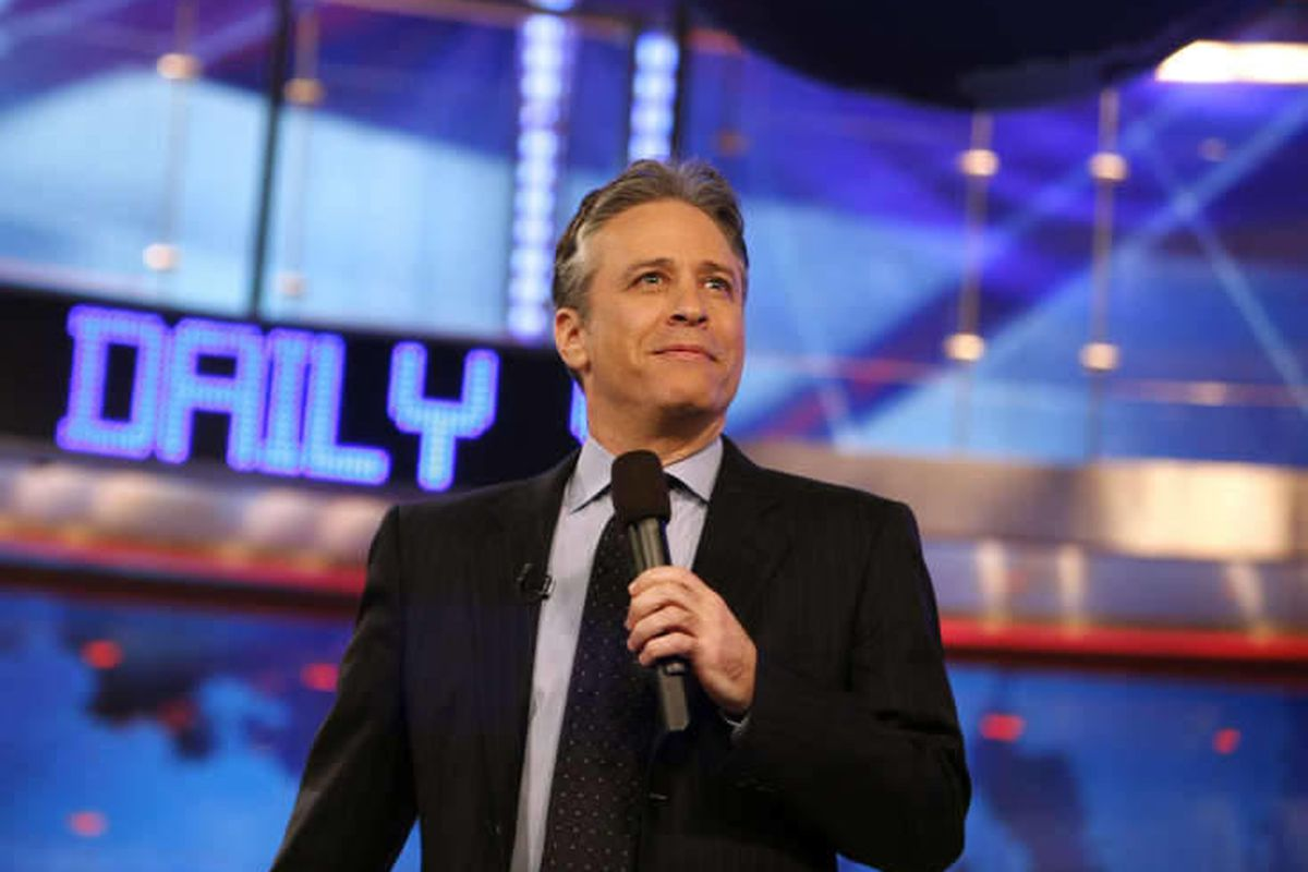 """In this March 12, 2009 file photo, Jon Stewart is shown during a taping of Comedy Central's """"The Daily Show with Jon Stewart"""" in New York."""