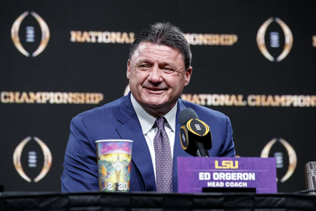 Head Coach Ed Orgeron of the LSU Tigers talks with the media during the press conference after the College Football Playoff National Championship Game at the Grand Ballroom at the Sheraton Hotel on January 14, 2020 in New Orleans, Louisiana.