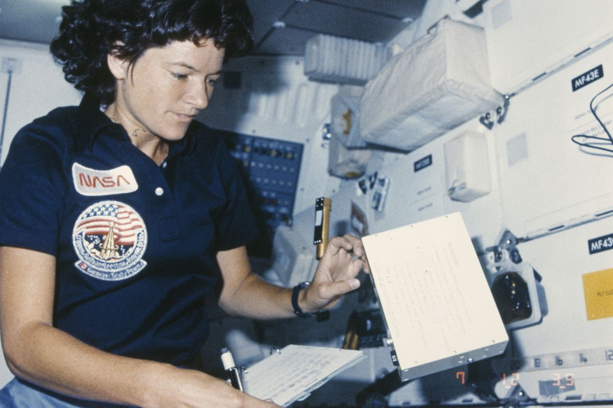 Sally Ride in space in 1984.
