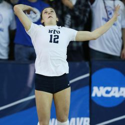 BYU's Roni Jones-Perry serves against American during the NCAA tournament in Provo on Friday, Dec. 1, 2017.