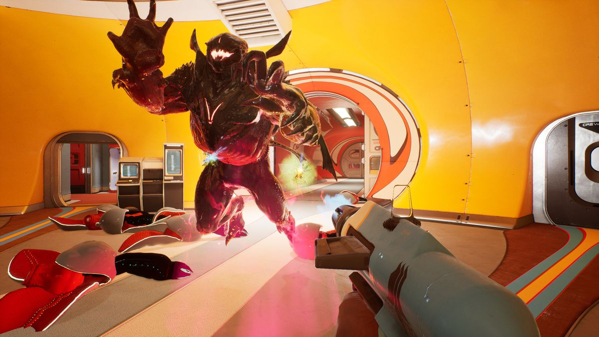 a large, horned anthropomorphic beast leaps at the player, aiming a futuristic gun in its direction