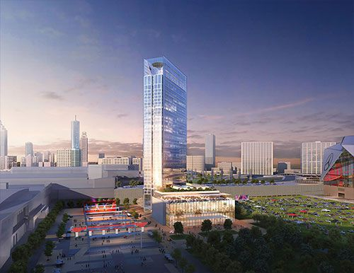 A rendering of the GWCCA hotel in Atlanta. The building is tall and has park space on one side.