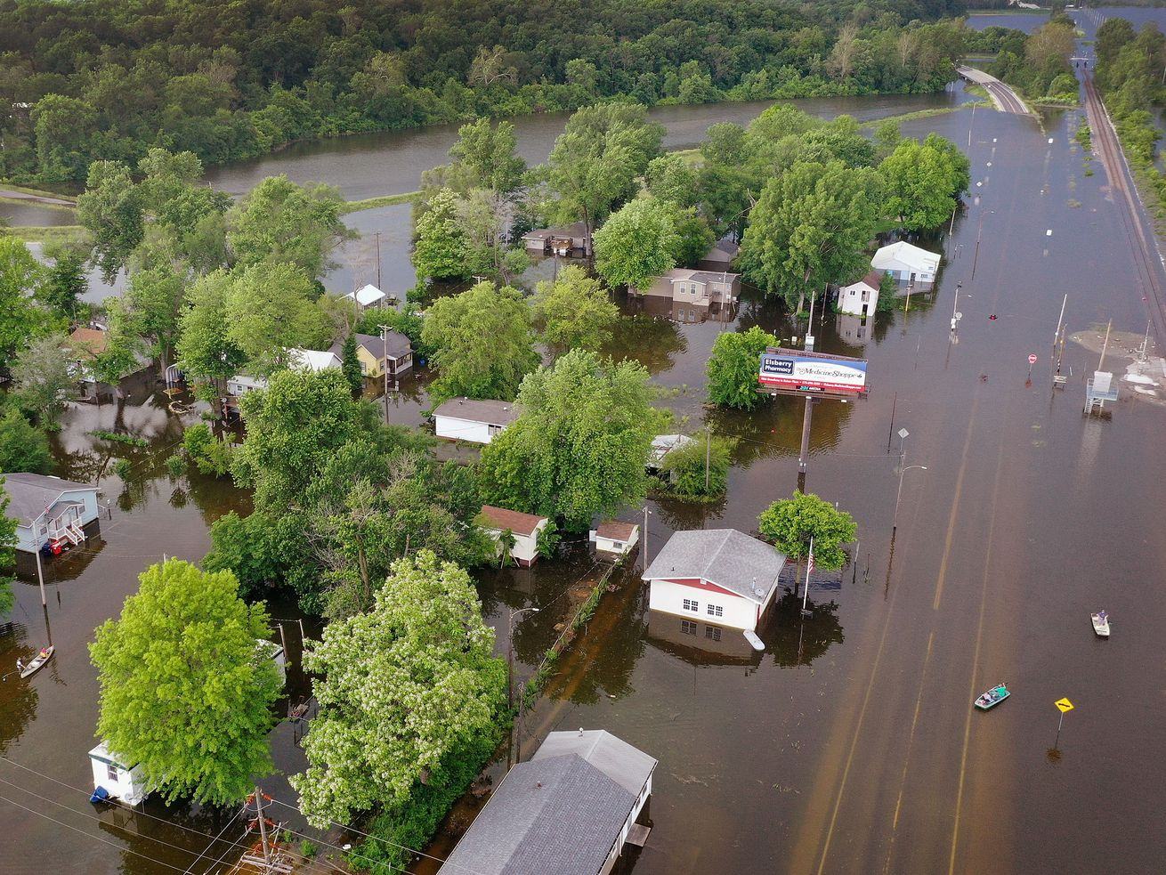 Floodwater from the Mississippi River has overtaken much of the town on June 1, 2019, in Foley, Missouri.