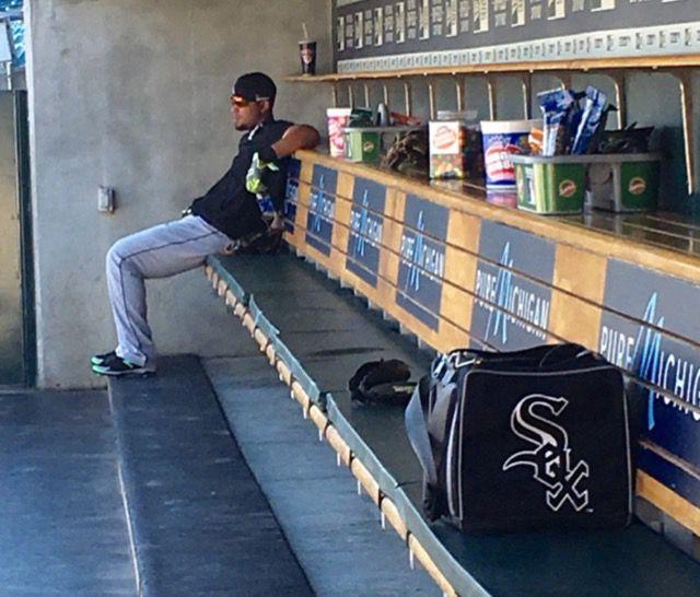 <em>Jose Abreu watches Miguel Cabrera take batting practice in Detroit last Monday. (Photo by Daryl Van Schouwen)</em>