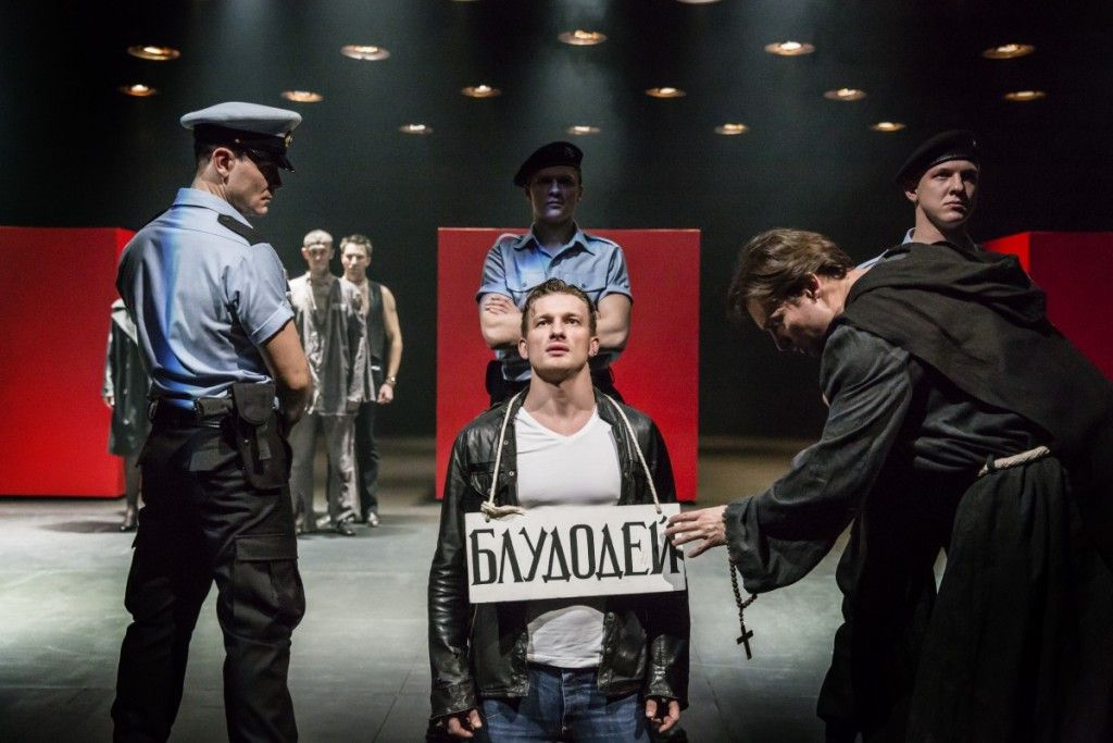 Alexander Matrosov, Peter Rykov and Alexander Arsentyev in the Cheek by Jowl/Puskin Theatre production of Measure for Measure directed by Declan Donnellan, featured at Chicago Shakespeare Theater as part of Shakespeare 400 Chicago. (Photo: Johan Persson)