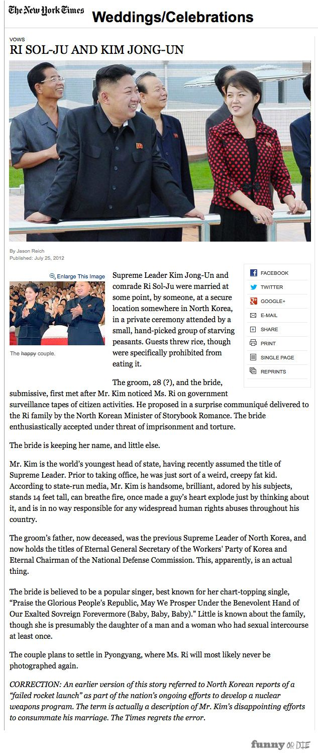 the ny times wedding announcement for kim jong un funny or die