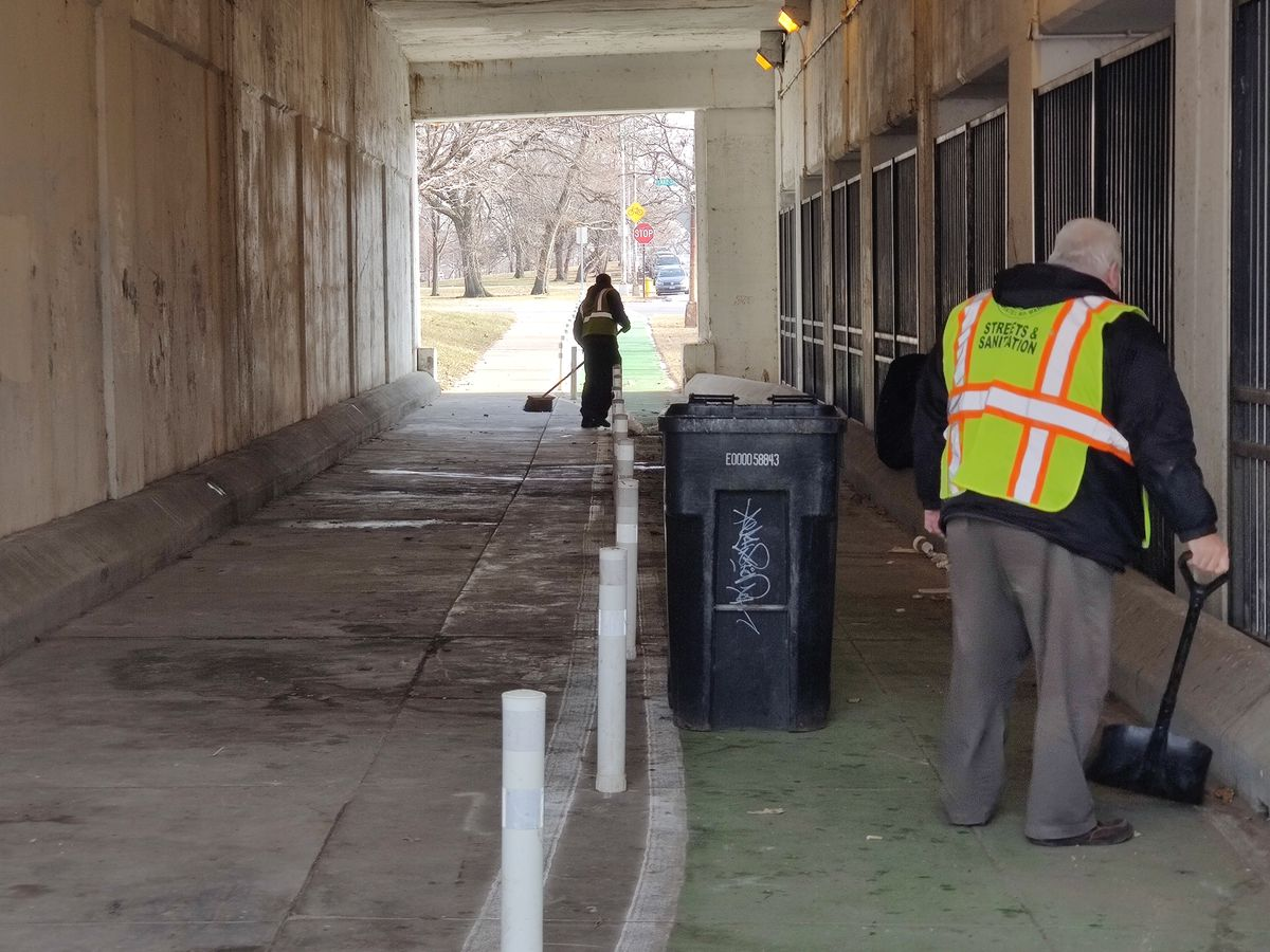 Chicago Department of Streets and Sanitation workers cleaned the Wilson Avenue viaduct on Monday morning.