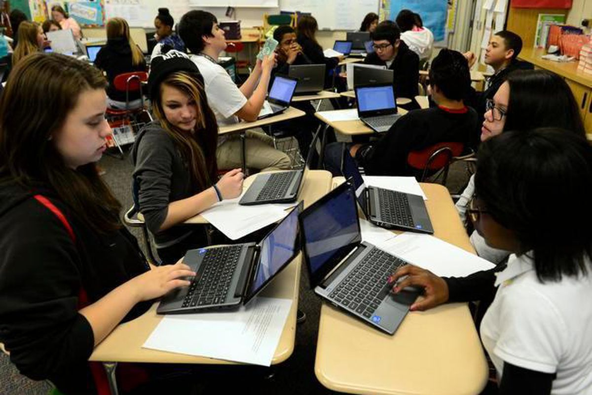 Students prepare for statewide testing in Michelle Mugatha's eighth-grade language arts class at Columbia Middle School in Aurora in 2014.