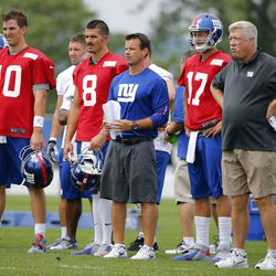 Giants' quarterbacks and coaches watch Ryan Nassib play. [Jim O'Connor-USA TODAY Sports]