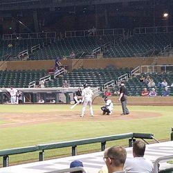 Sheldon Neuse bats in the eighth inning