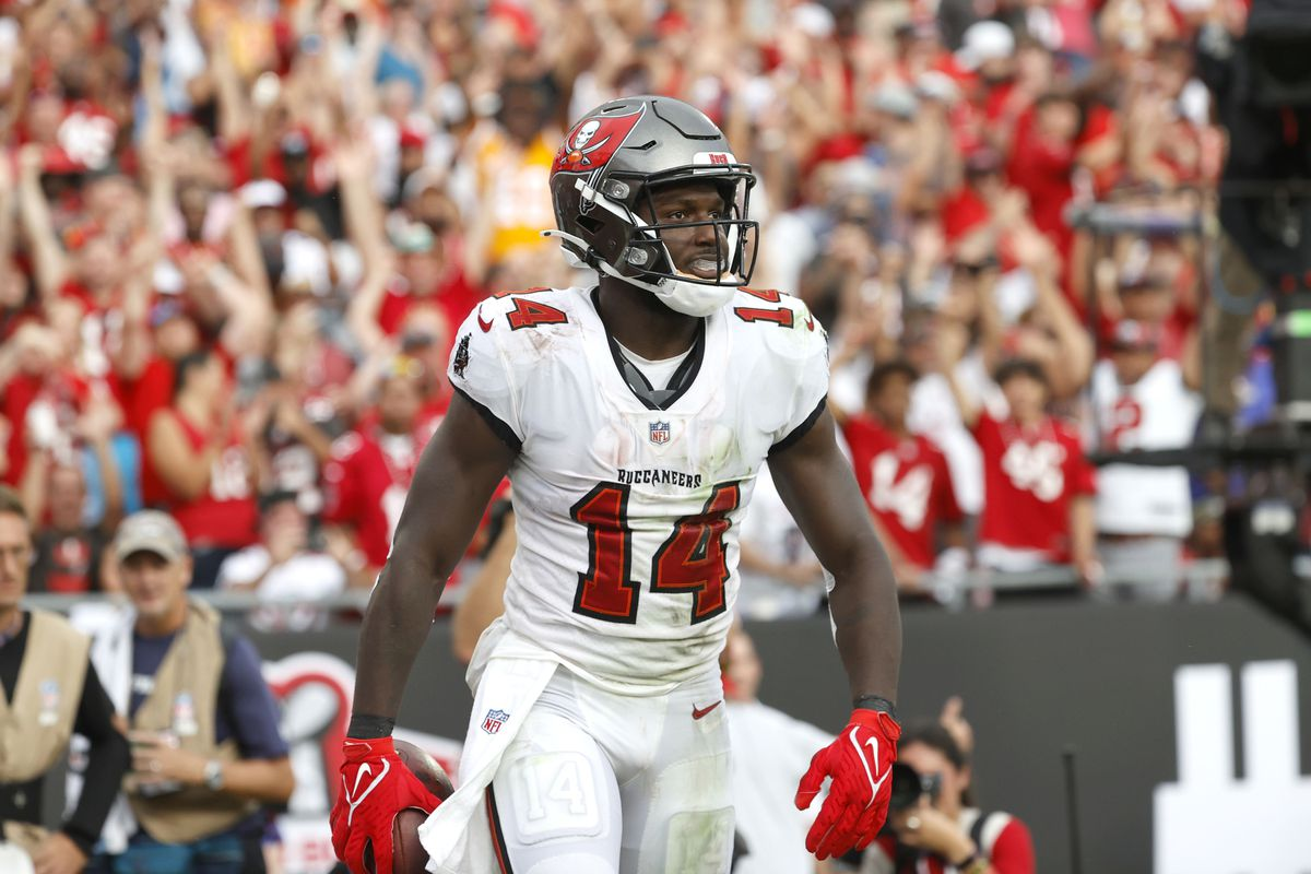 Tampa Bay Buccaneers wide receiver Chris Godwin (14) scores a touchdown against the Atlanta Falcons during the second half at Raymond James Stadium.
