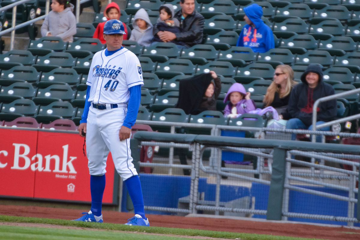 """Mitch """"MITCH"""" Maier at his current post, coaching first base in Omaha"""