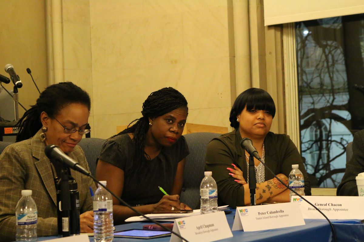 Shannon Waite (center) was appointed to the city's Panel for Educational Policy Monday evening.