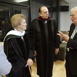 President Thomas S. Monson (center right) and his wife Sister Frances J. Monson (center left) as well as their daughter Anne Dibb talk with Ira Fulton, a big supporter of Utah Valley University. They got together after President and Sister Monson received Honorary Degrees at UVU's Commencement ceremonies. Friday, May 1, 2009.