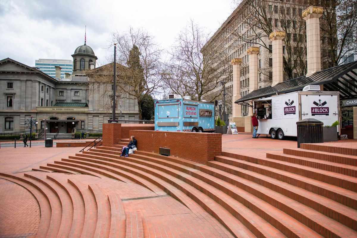 With many downtown businesses and restaurants closed, Pioneer Square was a ghost town on Saturday, April 4. The Block and Fried Egg I'm In Love carts remained open.