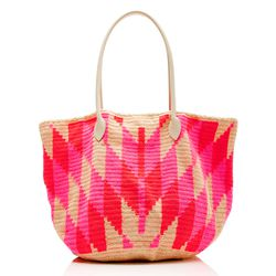 Sophie Anderson's soft woven cotton beach bag with leather handles is pretty much the ideal, if you can swing the splurge.