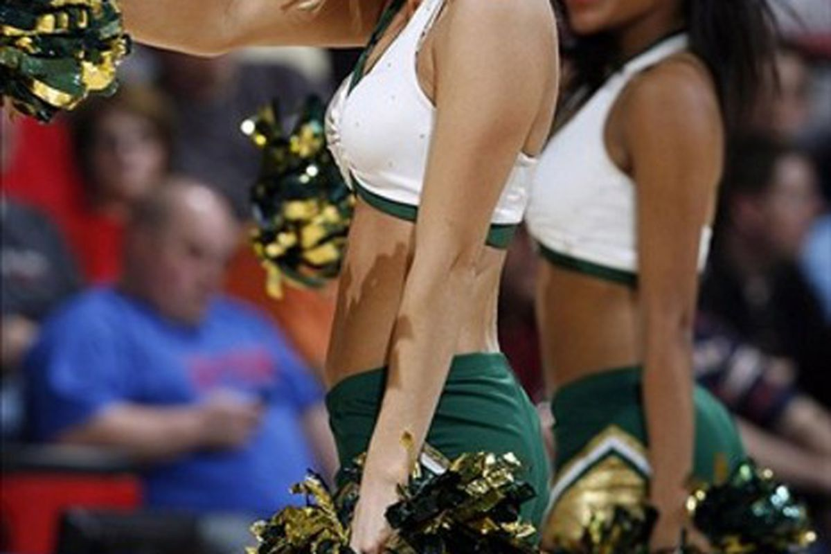 Mar 14, 2012; Dayton, OH, USA; South Florida Bulls dancer  performs in a game against the California Bears during the first round of the 2012 NCAA men's basketball tournament at Dayton Arena. Mandatory Credit: Brian Spurlock-US PRESSWIRE