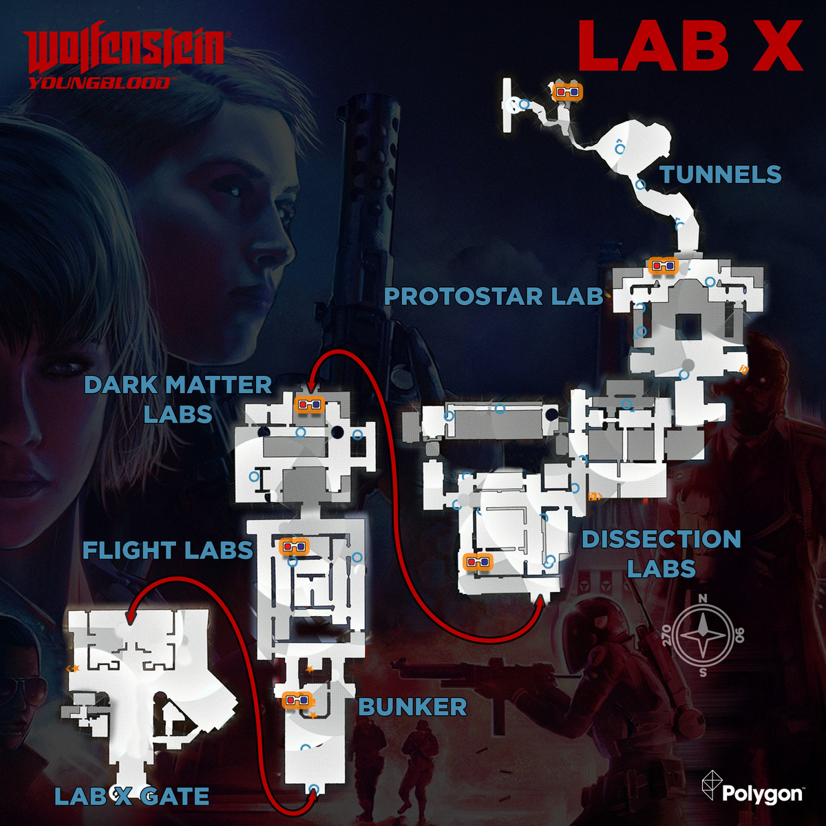 Wolfenstein: Youngblood Lab X map with 3D Glasses collectible locations