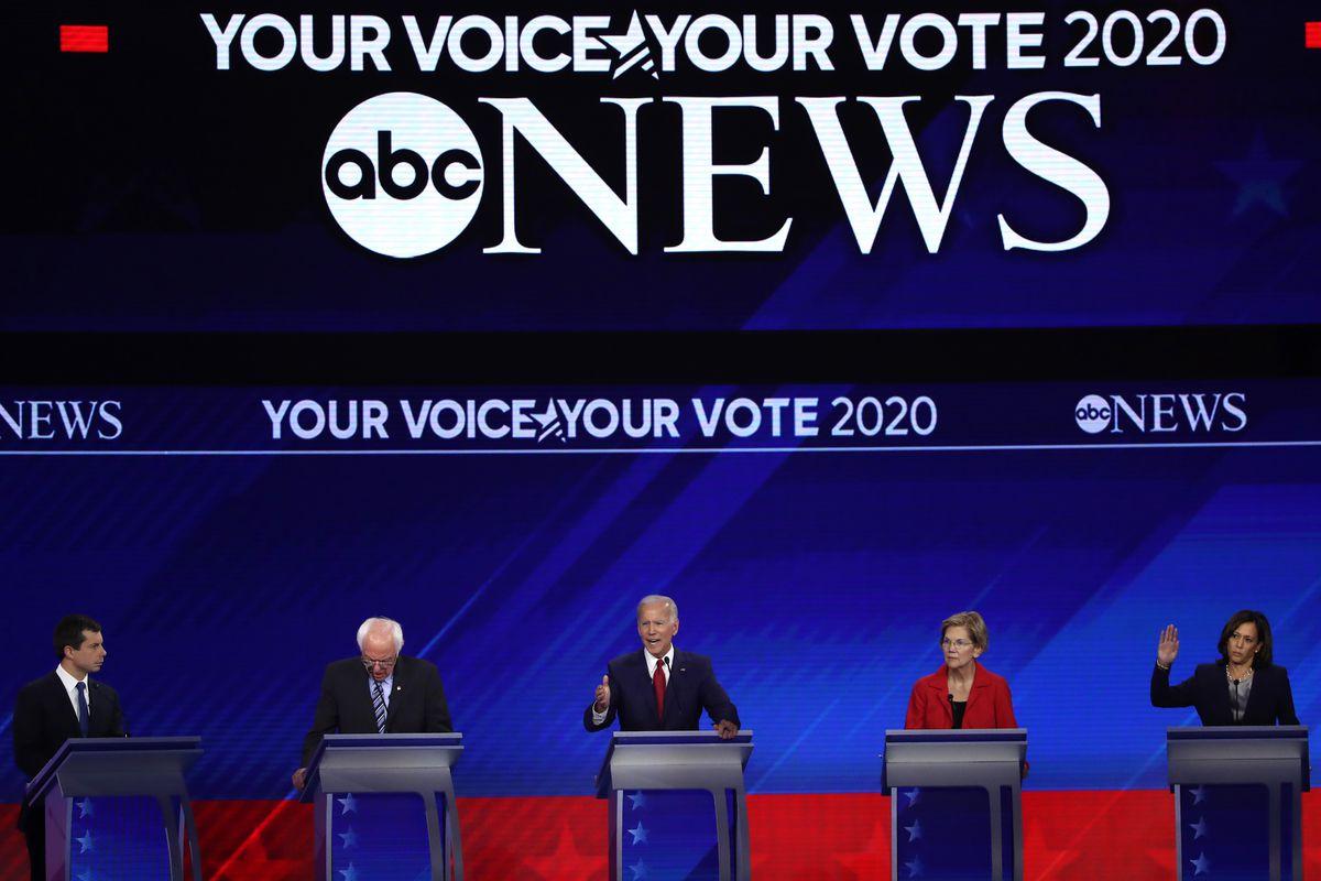 Democratic presidential candidates (from left to right) South Bend, Indiana Mayor Pete Buttigieg, Sen. Bernie Sanders (I-VT), former Vice President Joe Biden, Sen. Elizabeth Warren (D-MA), and Sen. Kamala Harris (D-CA) on stage during the Democratic Presi